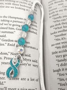 Ovarian Cancer Awareness Bookmark Ribbon with Faceted Beads