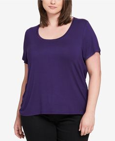 223d7c65 3X Tommy Hilfiger Plus Size Ladder-Neck Womens Top NEW Short sleeve Purple # TommyHilfiger