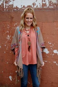 Open front, oversized poncho with tribal print and fringe detail. Only $38.95 at www.kadeandcate.com! #poncho #trending #womensfashion
