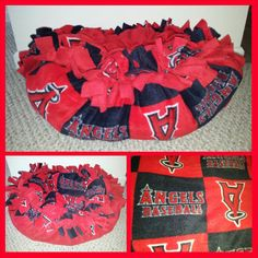 Los Angeles Angels Marshmallow Pet Bed in team colors of red and blue.