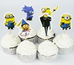 Minion Cupcake Picks Birthday Cake ice cream Toppers 24 - Pack