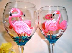 Flamingo Painted Glasses by FoxtailGlass on Etsy, $32.00