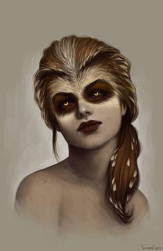 Girl  with raccoon face Animal art