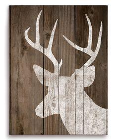 White Deer Plaid Silhouette Wall Art | zulily