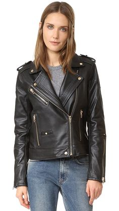 Blank Denim Leather Moto Jacket In The One Black Leather Biker Jacket, Moto Jacket, Leather Jackets, Motorcycle Jacket, Biker Jackets, Blank Denim, Leather Fashion, Rock Fashion, Fashion 2020