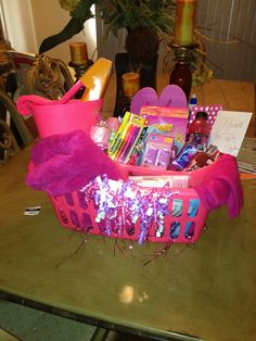 Going away to college basket I made. Don't forget your Mary Kay cosmetics.              www.marykay.com/rjenks