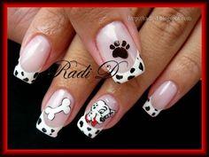 101 Dalmatians all five by RadiD - Nail Art Gallery nailartgallery. Disney Acrylic Nails, Acrylic Nail Tips, Disney Nails, Disney Nail Designs, Nail Art Designs, Hair And Nails, My Nails, Animal Nail Art, Diva Nails