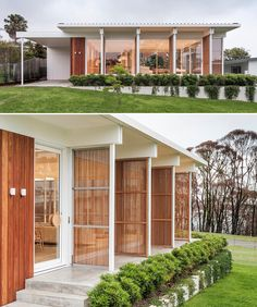 Vertical wood screens can be opened to create a casual living environment. Australian Architecture, Architecture Design, Living Environment, Accent Decor, Screens, Mid-century Modern, Building A House, Beach House, Shed