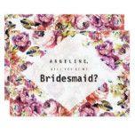 Vintage pink roses bohemian floral Bridesmaid Card