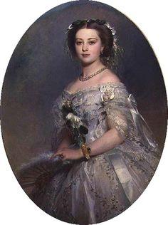 1857 Prinzessin Victoria, Gemälde von Franz Xaver Winterhalter. Prinzessin von Großbritannien und Irland, verheiratet mit Prinz Friedrich von Preußen, wurde Königin von Preußen und deutsche Kaiserin. (1840-1901)