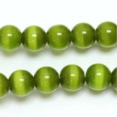 Fiber Optic, How To Make Beads, Cat Eye, Olive Green, Glass Beads