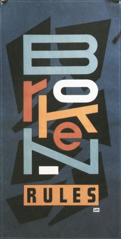The word Broken is broken itself. The letters have been stretched, flattened and/or moved from their original place. It looks messy even though it is quite clear to read and understand. A great example of a word that mimics its meaning. Also the different colours within the letters makes it even more messy. Typographic Poster, Typographic Design, Cool Typography, Graphic Design Typography, Typography Letters, Graphic Prints, Typography Layout, Vintage Typography, Poster Design