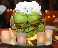 Pretty bowl of apples and white flowers to use for Rosh Hashanah. An Elegant and Creative _ Rosh _ Hashanah _Table _ and _ decoration _ ideas Modern Wedding Flowers, Purple Wedding Flowers, Wedding Colours, Orange Wedding, Send Flowers, White Flowers, Apple Centerpieces, Wedding Centerpieces, Centerpiece Ideas