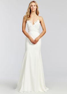 1c43bdd3ec7c7 Style 1655 Saylor Blush by Hayley Paige bridal gown - Ivory chiffon fit to  flare bridal gown, lace bodice with nude lining and soft chiffon overlay,  ...