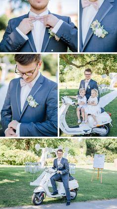 Ein dunkelblauer Anzug und eine Pastellrosa Fliege sind einfach die perfekte Wahl für eine Frühlinghochzeit! Findet ihr auch? Dann schaut euch die ganze Fotostory auf Hochzeitsportal24 an.....