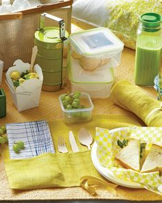 Picnic cutlery rolls double as a placemat.  Love all these cute containers to use for a picnic!