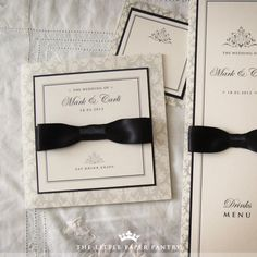 Elegant Black Tie wedding invite - Black ribbon made to look like bow tie