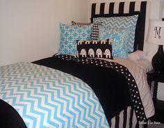 chevron bedding for teens | Aqua Chevron & Black Designer Teen & Dorm Bed in a Bag