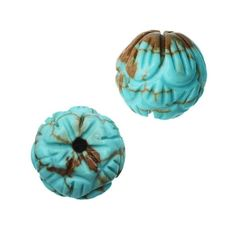 Dyed Magnesite Gemstone Beads Round Carved Flower 8.5mm 10 Pieces