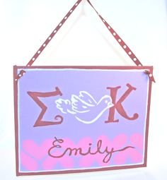 Sigma Kappa sign for little sister,  Made with supplies from DIYGreek.com.  Stencils, Ribbon ahttp://pinterest.com/#nd paint