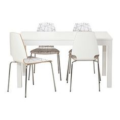 IKEA - BJURSTA / VILMAR, Table and 4 chairs, Extendable dining table with 2 extra leaves seats 4-8; makes it possible to adjust the table size according to need.You can store the extension leaves within easy reach under the table top.The hidden lock keeps the extension leaf in place and prevents gaps between the leaves.The clear-lacquered surface is easy to wipe clean.The chair's melamine surface makes it durable and easy to keep clean.You can stack the chairs, so they take les...