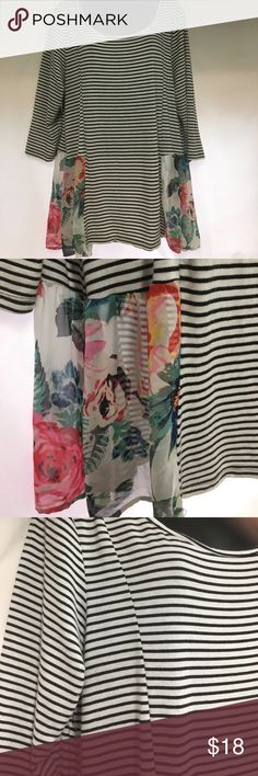 TriaTria+ Plus 1x French style stripes/roses top TriaTria+ Plus 1x French style stripes/roses top, super cure sheer rose accent fabric tria tria Tops Blouses