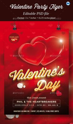 Valentine Party Flyer — Photoshop PSD #invitation #valentine • Available here → https://graphicriver.net/item/valentine-party-flyer/10121586?ref=pxcr