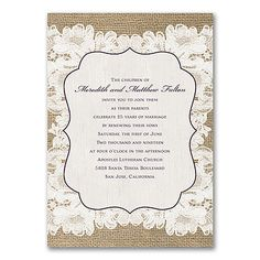 7 best vow renewals images on pinterest wedding anniversary burlap and lace add up to rustic romance on this vow renewal invitation a wood filmwisefo