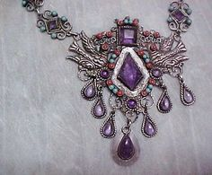 SUPERB-TAXCO-STERLING-DOVES-AMETHYST-CORAL-TURQ-MATL-STYLE-NECKLACE-LEL-ME02