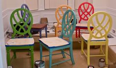 fiesta colored chairs  the colors I am painting my chairs.  Except the cobalt blue one will be plum purple..