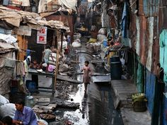 In the slums the lanes are very narrow and crowded from the overpopulation. About half of people who live in the slums suffer from a disease. These diseases are due to a lack of sanitation.