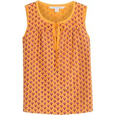 Diane von Furstenberg Cotton-Silk Printed Sleeveless Top ($150) ❤ liked on Polyvore featuring tops, orange, florals, shirred top, diane von furstenberg, floral top, floral sleeveless top and floral print sleeveless top