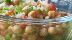 A chilled combo of garbanzo beans, tomatoes, green bell peppers, and other flavors of summer! Mediterranean Chickpea Salad, Mediterranean Diet Recipes, Great Salad Recipes, Yummy Recipes, Cucumber Salad, Fruit Salad, Chopped Carrots, Soup And Salad, Food Network Recipes
