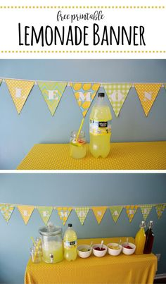 Printable Lemonade Banner – Mary Martha Mama- How to set up an easy Lemonade stand for a party or fundraiser and a free printable lemonade banner Diy Arts And Crafts, Crafts For Kids, Creative Crafts, Diy Crafts, Adult Birthday Party, Birthday Crafts, Lemonade Sign, Birthday Presents For Mom, Mary And Martha