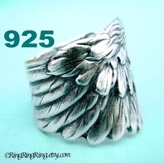 Angel Wing ring, detailed feather ring, solid Sterling Silver Ring, Unique jewelry for men and women on Etsy, 192.58₪