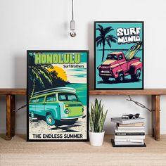 """Retro Hawaii Surf Posters and Prints Beach Surfing Car Wall Art Canvas Painting Vintage Van Bus Picture Coastal Art Wall Decor"" Car Wall Art, Wall Art Decor, Canvas Wall Art, Wall Art Prints, Poster Prints, Surf Posters, Hawaii Surf, Coastal Art, Vintage Wall Art"