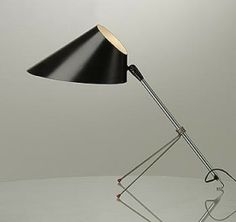 Anthony Ingolia; Steel, Enameled Metal and Rubber Table Lamp for Heifetz, 1951.