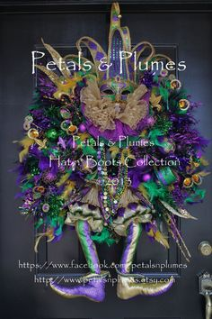 "MARDI GRAS Wreath-Fat Tuesday-""CoUrT JEsTeR""-Fleur de Lis-New Orleans-Ready to Ship""- One of a Kind Handmade/painted Mask/Head dress) 43""XXL"