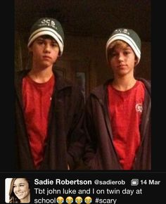 "So cute. Robertson ""twins"", Sadie and John Luke"