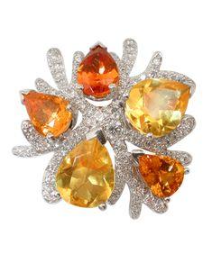 Corail brooch White gold Diamonds Citrins Spessartite garnets