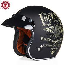 b062f4ae12673 TORC Casque Casco Capacete Vintage Motocross Casques Moto Café Racer Moto  Scooter 3 4 Rétro