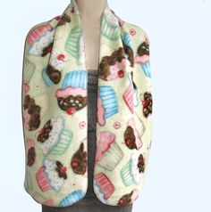 Long Fleece Scarf in a Sweet Frosted Cupcakes  by AnickasCottage, $10.50
