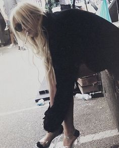 Taylor Momsen, relaxing backstage after a show.