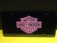 harley davidson orange and black block logo license plate frame