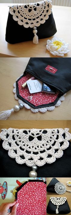 Free tutorial to make this leather and crochet clutch bag Free tutorial for making this leather and crochet bag Crochet Clutch Bags, Crochet Handbags, Crochet Purses, Crochet Bags, Crochet Fabric, Crochet Doilies, Free Crochet, Leather Bags Handmade, Handmade Bags