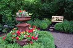 Lush perennial gardens surround the Kirkwood Inn in Mason, OH