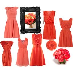 Coral Bridesmaids - all dresses under $50!    Love this! Totally saving this as a reference later on (when I actually get close to getting married), considering my colors will be coral, cream and light grey!
