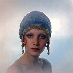"Fashion model Twiggy modeling the ""Dudu Look"" with Biba's range of cosmetics, United Kingdom, 1970, photograph by Justin de Villeneuve."
