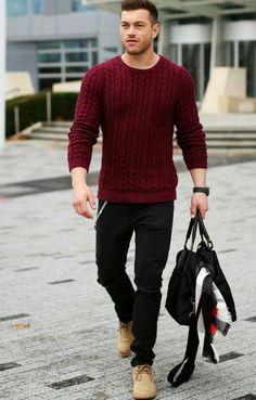 No Look: Suéter Solo Vermelho Com Abotinado Bege - Dudes Modernos