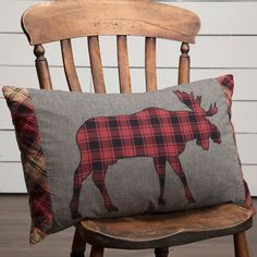 2PC Moose Applique Pillow Set Log Cabin Country Style Animal Print Pillows New #VHCBrands #Lodge